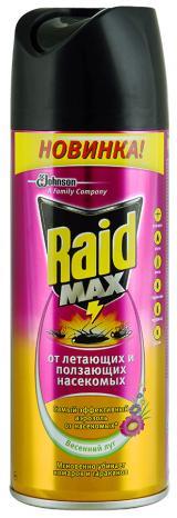"""Средство Raid Max против летающих и ползающих насекомых """"Весенний луг"""", 300мл."""