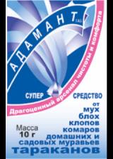 Адамант - инсектицидный порошок для уничтожения тараканов, клопов, муравьев, мух и комаров, 10 г.