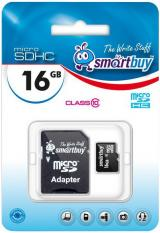 Карта памяти Smartbuy MicroSDHC 16Gb Class10 + SD adapter
