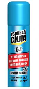 Убойная сила Maximum 5в1 аэрозоль от комаров,клещей,мошки,слепней,блох, 150 см3